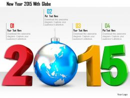 1114 New Year 2015 With Globe Image Graphics For Powerpoint