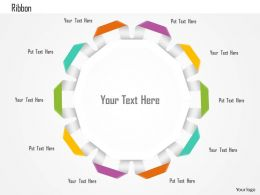 1114 Nine Staged Circular Ribbon Text Box Diagram Powerpoint Template