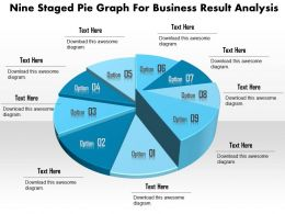 1114 Nine Staged Pie Graph For Business Result Analysis Powerpoint Template
