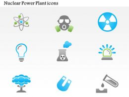1114 Nuclear Power Plant Icons Mushroom Cloud Atoms Ppt Slide