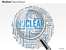 1114 Nuclear Word Cloud With Magnifying Glass Highlighting Words Ppt Slide