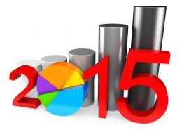 1114 Pie Graph With Bar Graph And 2015 Year Text For Business Growth Stock Photo