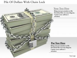 1114 Pile Of Dollars With Chain Lock Image Graphics For Powerpoint