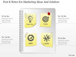 1114 Post It Notes For Marketing Ideas And Solution Presentation Template