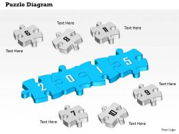 1114 Puzzle Diagram For 2015 Year Diagram With Numeric Puzzles Around Powerpoint Template