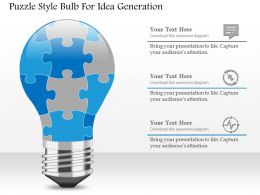 1114 Puzzle Style Bulb For Idea Generation Powerpoint Template
