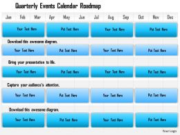 1114 Quarterly Events Calendar Roadmap Powerpoint Presentation