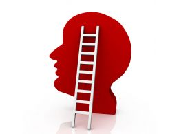 1114 Red 3d Human Face With Stairs Success Stock Photo