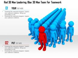 1114 Red 3d Man Leadering Blue 3d Man Team For Teamwork Ppt Graphics Icons