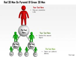 1114 Red 3d Man On Pyramid Of Green 3d Men Ppt Graphics Icons
