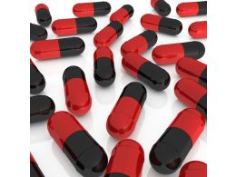 1114 Red And Black Capsule For Medicine And Healthcare Stock Photo
