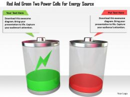 1114 Red And Green Two Power Cells For Energy Source Image Graphic For Powerpoint