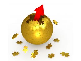 1114 Red Arrow Coming Out From Sphere Of Puzzle Pieces Stock Photo