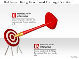 1114 Red Arrow Hitting Target Board For Target Selection Image Graphic For Powerpoint