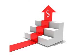 1114 Red Arrow On Stairs With Dollar Growth Stock Photo