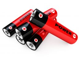 1114 Red Black Cells With Power Text Stock Photo