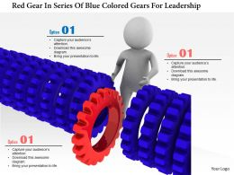1114 Red Gear In Series Of Blue Colored Gears For Leadership Ppt Graphics Icons