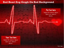 1114 Red Heart Ecg Graph On Red Background Image Graphics For Powerpoint