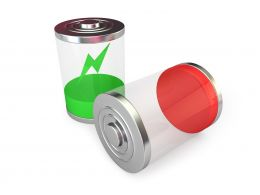 1114 Red Low Battery And Green Battery Charging Icons Stock Photo