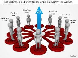 1114 Red Network Build With 3d Men And Blue Arrow For Growth Ppt Graphics Icons
