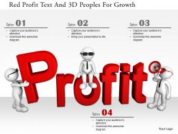 1114 Red Profit Text And 3d Peoples For Growth Ppt Graphics Icons