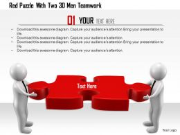 1114 Red Puzzle With Two 3d Men Teamwork Ppt Graphics Icons