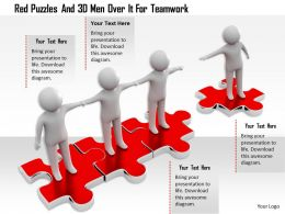 1114 Red Puzzles And 3d Men Over It For Teamwork Ppt Graphics Icons