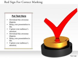 1114 Red Sign For Correct Marking Image Graphic For Powerpoint