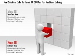 1114 Red Solution Cube In Hands Of 3d Man For Problem Solving Ppt Graphics Icons