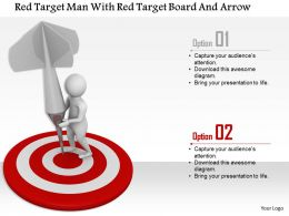 1114 Red Target Man With Red Target Board And Arrow Ppt Graphics Icons