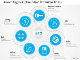 1114 Search Engine Optimization Technique Boxes PowerPoint Template