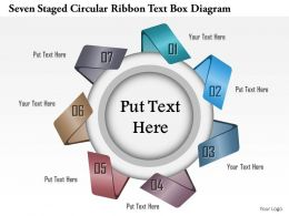 1114 Seven Staged Circular Ribbon Text Box Diagram Powerpoint Template