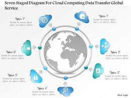1114 Seven Staged Diagram For Cloud Computing Data Transfer Global Service Powerpoint Template