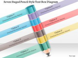 1114 Seven Staged Pencil Style Text Box Diagram Powerpoint Template