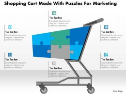 1114 Shopping Cart Made With Puzzles For Marketing Powerpoint Template