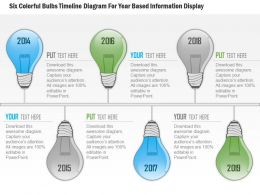 1114 Six Colorful Bulbs Timeline Diagram For Year Based Information Display PowerPoint Template