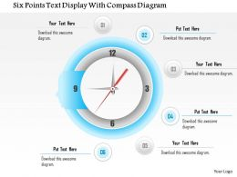 1114 Six Points Text Display With Compass Diagram Powerpoint Template