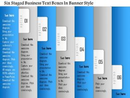 1114 Six Staged Business Text Boxes In Banner Style Powerpoint Template