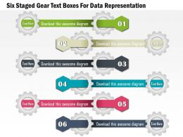 1114 Six Staged Gear Text Boxes For Data Representation Powerpoint Template