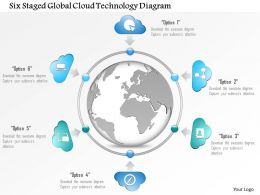 1114 Six Staged Global Cloud Technology Diagram Powerpoint Template