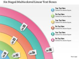 1114 Six Staged Multicolored Linear Text Boxes Powerpoint Template