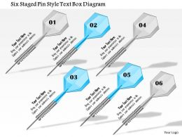 1114 Six Staged Pin Style Text Box Diagram Powerpoint Template