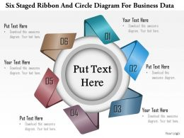 1114 Six Staged Ribbon And Circle Diagram For Busines Data Powerpoint Template