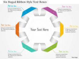 1114 Six Staged Ribbon Style Text Boxes Powerpoint Template