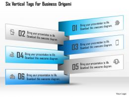 1114 Six Vertical Tags For Business Origami Powerpoint Template