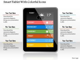 1114 Smart Tablet With Colorful Icons Powerpoint Template