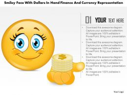 1114 Smiley Face With Dollars In Hand Finance And Currency Representation Powerpoint Template