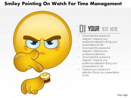 1114 Smiley Pointing On Watch For Time Management Powerpoint Template