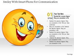 1114 Smiley With Smart Phone For Communication Powerpoint Template