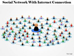 1114 Social Network With Internet Connection Powerpoint Template